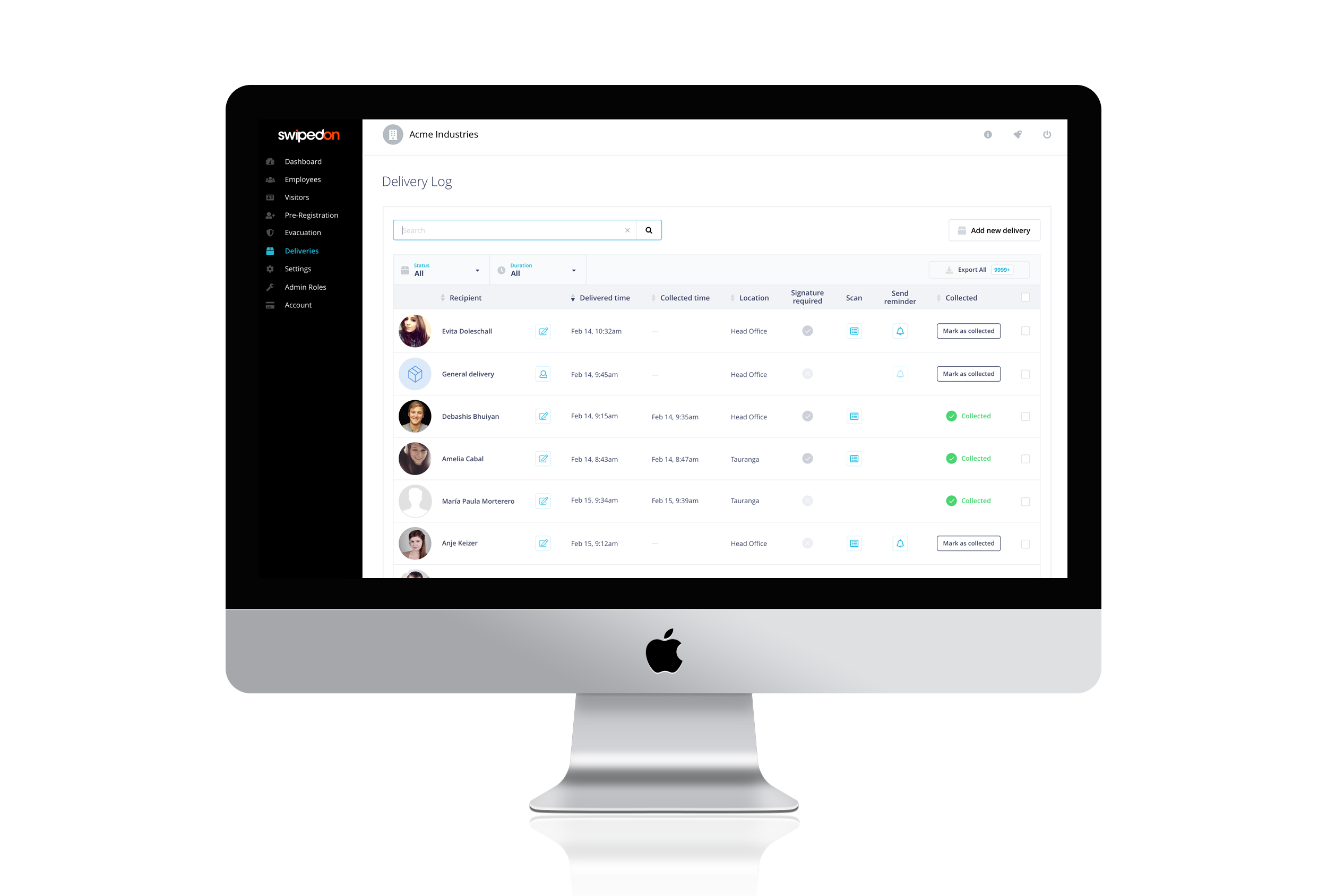 Deliveries by SwipedOn: easily manage deliveries at your front desk with the delivery log