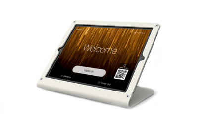 Heckler Windfall stand with SwipedOn visitor management