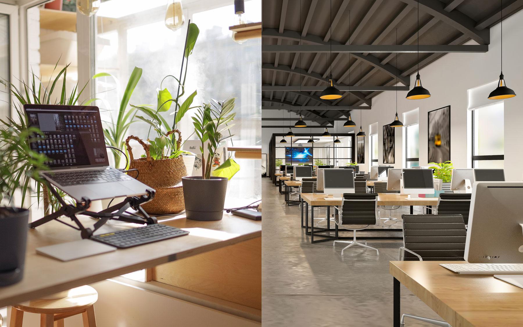 home office versus office building