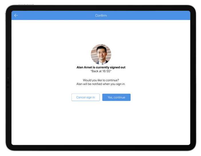 Host sign-out message SwipedOn 2.11.0