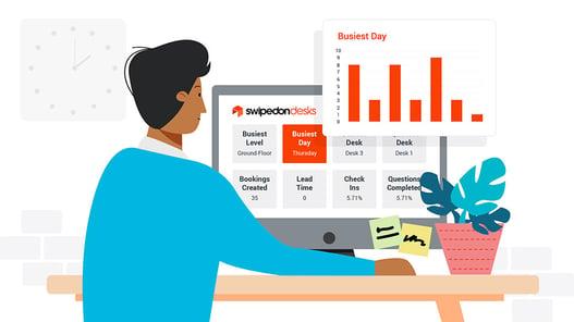 man looking at SwipedOn desks data on computer