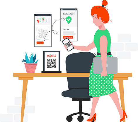 woman booking a hot desk on the go