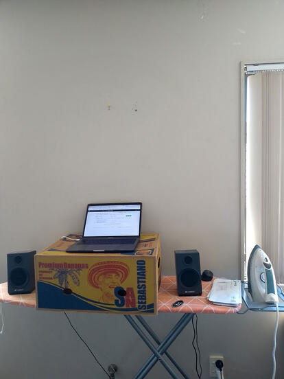 Remote working tips: use the ironing board as an adjustable desk